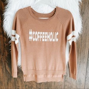 #Coffeeholic Sweater with Striped Sleeves